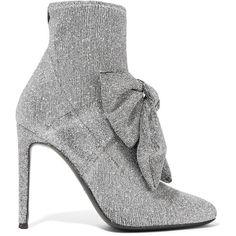 Giuseppe Zanotti Natalie embellished glittered stretch-knit sock boots ($895) ❤ liked on Polyvore featuring shoes, boots, slip on boots, embellished shoes, slipon boots, glitter high heel shoes and embellished boots
