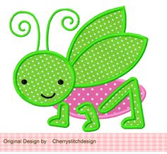 Grasshopper Applique -4x4 5x7 6x10-Machine Embroidery Applique Design