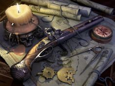 Flintlock, map, and navigation tools. http://georgianromancewriter.blogspot.co.uk/