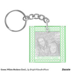 Shop Green White Modern Circles Lines Pattern Keychain created by BrightVibesArtPhoto. Green Gifts, Line Patterns, Inspirational Message, Green Colors, Circles, Stationery, Personalized Items, Modern, Trendy Tree