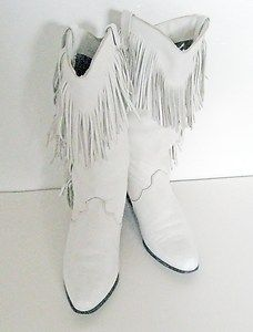 White Leather Fringe Cowboy Boots by Dingo | Womens 80s Boots Size ...