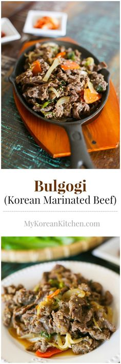 How to make easy, delicious and authentic Bulgogi (Korean Marinated beef) Korean Bbq Beef, Korean Bulgogi, Asian Beef, Asian Recipes, Beef Recipes, Cooking Recipes, Recipies, Beef Bulgogi Recipe, Tarte Vegan
