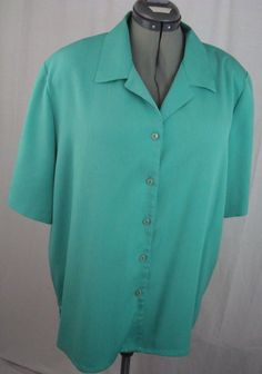 Allison Daley II Women's 20W Blouse Plus Size 20W Turquoise-Green 100% Polyester #AllisonDaleyII #Blouse #YourChoice