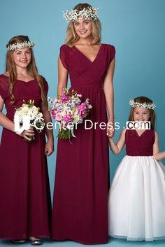 6732c4d1126  113.39-Cute Ruched V-Neck Short Sleeve Chiffon Red Long Junior Bridesmaid  Dress.
