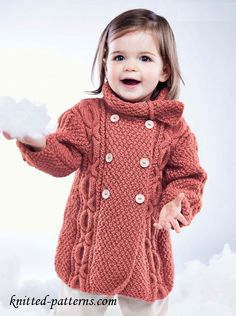 Girl's Cable Coat  http://knitted-patterns.com/knitting-for-children/knitting-for-girls/3880-girls-cable-coat