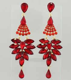 Pageant Earrings Long Red Chandelier Color Gold Size 4