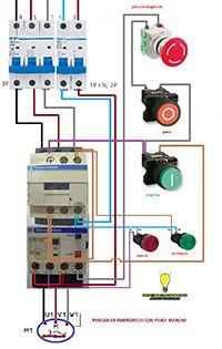 Esquemas eléctricos: Parada de emegencia con marcha paro motor trifasic...