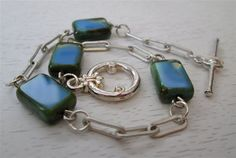 Blue Picasso Czech bead and silver link bracelet
