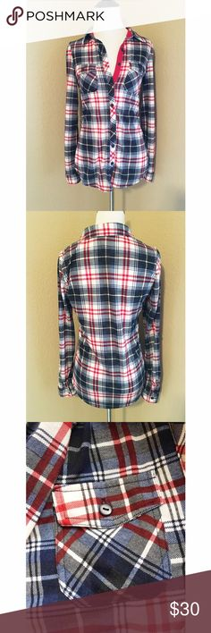 Red, White & Blue Flannel Softest flannel ever! In new condition. Two breast pockets. 🚫No trades or PayPal🚫 Tops Button Down Shirts