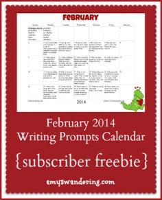 February Writing Prompts Calendar