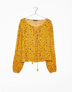 aeedab504434 Blusa con manga entredos - Camisas - Bershka Mexico Albania, Lace Trim,  Woman,