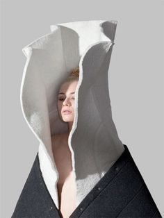 Conceptual Fashion - cocooning garment with dramatic 3D collar; sculptural fashion; wearable art // Frederik Farg