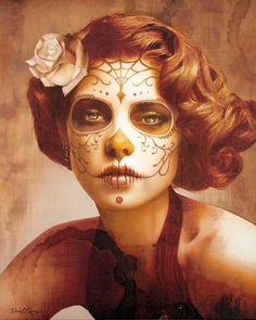 Face painting examples are very useful in the art of face painting. One of the greatest things about face painting examples, is that there are many reference Disfarces Halloween, Halloween Costumes, Halloween Face Makeup, Vintage Halloween, Sugar Skull Halloween Costume, Voodoo Costume, Boo Costume, Vintage Witch, Halloween Parties