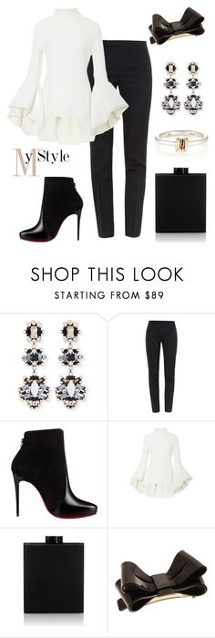 """""""Bow."""" by gatocat ❤ liked on Polyvore featuring DANNIJO, Yves Saint Laurent, Christian Louboutin, Brandon Maxwell, Victoria Beckham, L. Erickson and SPINELLI KILCOLLIN"""