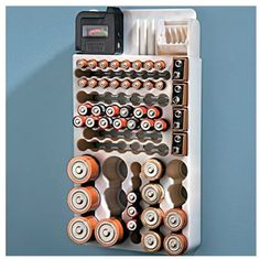 A convenient home Battery Organizer! Stores up to 82 batteries of all sizes, plus it has a built-in removable tester unit. Stop searching for batteries in your junk drawers or cupboards. Keep all your