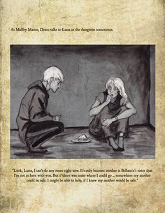 "This is a page from my illustrated book: ""Draco Malfoy and the Deathly Hallows"" The book is my own re-imagining of the last book HP : DH In my version D. Draco and Luna All Harry Potter Characters, Harry Potter Love, Harry Potter Universal, Harry Potter Fandom, Harry Potter Memes, Harry Potter World, Draco Malfoy, Harry Draco, Draco And Hermione Fanfiction"