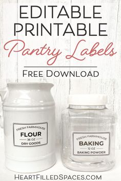 Do you need to update your kitchen storage containers? These free editable and printable kitchen pantry labels can be customized to meet your needs. I've included printing tips and the best labels to use for your project. Diy Kitchen Soap, Kitchen Labels, Pantry Labels, Kitchen Pantry, Spice Labels, Canning Labels, Canning Recipes, Kitchen Art, Kitchen Hacks