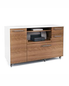 Format Mobile Credenza - Engineered for today's workplace, FORMAT's design is elegant and modern. The collection includes a woodtopped desk, a mobile file pedestal and a versatile mobile credenza with storage space for a printer, hanging files and other supplies.