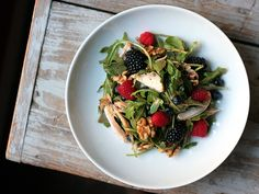 Berry Walnut Arugula Salad with Roast Chicken and Strawberry Viniagrette