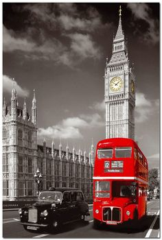 Removable Mural Home Decor 20x30 inches Wall Sticker Top Selling Red London Bus With Big Ben Poster $10.99