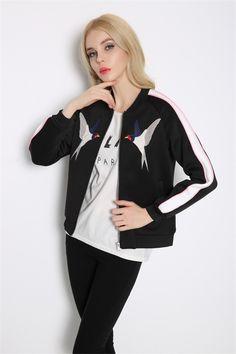 Women New Fashion Baseball Jacket White Bird Embroidery Space Cotton Bomber Jacket Zipper Snap Cardigan Outerwear Coat Autumn