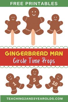 These free gingerbread man circle timeprops can be used while reading and singing related books and songs. Having visuals keeps toddlers and preschoolers engaged, too! #toddlers #preschool #gingerbreadman #christmas #holidays #circletime #literacy #music #2yearolds #3yearolds #printable #teaching2and3yearolds