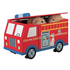 Up To The Moon - Fire Engine Hand Painted Wooden Children's Toy Box