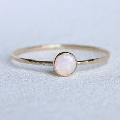 Solid 14k Gold Natural AAA Opal Stack Ring Simple by MARYJOHN