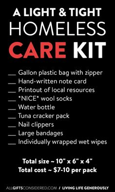Care kits for the homeless - Care Package ideas Newest 2020 Homeless Bags, Homeless Care Package, Homeless Services, Homeless Shelters, Homeless People, Helping Others, Helping People, Blessing Bags, Little Presents