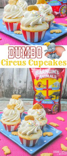 A cute & easy Disney dessert perfect for a circus party or Dumbo family movie night. These Dumbo Circus Cupcakes are fun and unexpected Circus Cupcakes, Disney Cupcakes, Disney Desserts, Movie Cupcakes, Disney Cakes Easy, Wedding Cupcakes, Holiday Desserts, Dumbo Birthday Party, Carnival Birthday