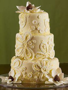 Lace and Magnolia Wedding Cake