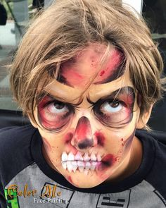 Face Painting Halloween Kids, Face Painting For Boys, Face Painting Designs, Love Painting, Kids Zombie Makeup, Zombie Kid, Halloween Makeuo, Halloween Face Makeup, Zombie Face Paint