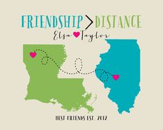 Friendship is Greater Than Distance, Long Distance Best Friend Gift - 8x10 Art Print, Gift for Friend Moving Away, Hometown Cities, Maps