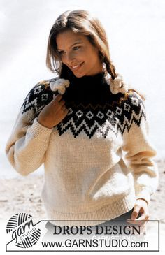 DROPS sweater with round yoke in Alaska Free tutorials from DROPS Design. - DROPS sweater with round yoke in Alaska Free tutorials from DROPS Design. Fair Isle Knitting Patterns, Sweater Knitting Patterns, Easy Knitting, Knitting Stitches, Knit Patterns, Crochet Pullover Pattern, Knit Crochet, Drops Design, Icelandic Sweaters