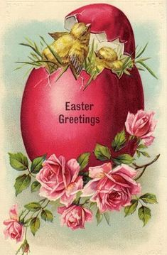 Cute vintage Easter rose postcard Thanks for this pin ! Easter Art, Easter Crafts, Easter Bunny, Vintage Easter, Vintage Holiday, Fete Pascal, Easter Pictures, Easter Parade, Easter Printables