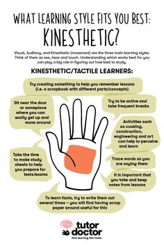 What learning style fits you best? Here are some great study tips kinesthetic le. - What learning style fits you best? Here are some great study tips kinesthetic learners! Instructional Strategies, Teaching Strategies, Teaching Tips, Kinesthetic Learning Style, Learning Activities, Learning Methods, Learning Techniques, Study Skills, Writing Skills
