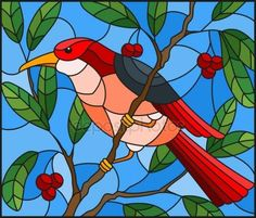 Скачать - Illustration in the style of stained glass with a beautiful red bird on a background of branch of tree and sky — стоковая иллюстрация Stained Glass Quilt, Stained Glass Designs, Stained Glass Patterns, Tree Watercolor Painting, Bird Artwork, Illustration, Bird Drawings, Mosaic Art, Beautiful