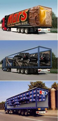 So sieht kreative LKW - Werbung aus!
