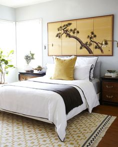 pine screen Asian bedroom