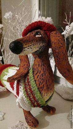 Такса-праздник))) - коричневый,такса,собака,друг,коллекционная игрушка