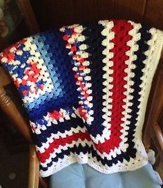 Patriotic Color Vintage Handmade Granny Square Afghan Red White Blue  | eBay