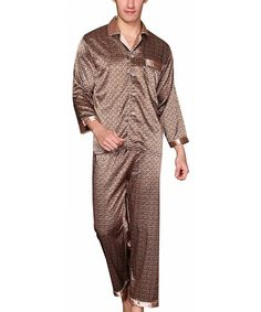 97baaf6cf5 Mens Luxury Sleepwear Silk Pajamas Set Soft Terylene Long Sleeve Loungewear  Set - CX187K5KA9X