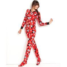 Briefly Stated Pajamas, Red Mickey Footed Pajamas ($42) ❤ liked on Polyvore