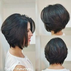 Chin-Length Brunette Layered Bob
