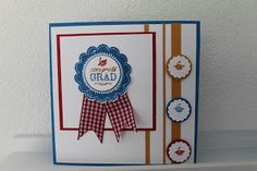 Cindy Scrap Cards,, Blue Ribbon Stampin'Up, Graduation card, Congratulations, Clean and Simple