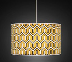 Mustard Yellow Retro Geometric Handmade Giclee Style Printed Fabric Lamp Drum Lampshade Floor or Ceiling Pendant Light Shade 530 Glass Pendant Shades, Drum Pendant, Ceiling Pendant, Living Room And Kitchen Design, Rectangular Lamp Shades, Drum Shade, Light Shades, Printing On Fabric, Mustard Yellow