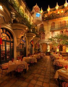 You'll find plenty of spots for onsite dining at this castle in SoCal. The Spanish Patio is a popular location with a warm and romantic vibe.