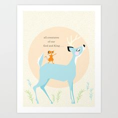 Buy All Creatures (blue) by Lay Baby Lay  as a high quality Art Print. Worldwide shipping available at Society6.com. Just one of millions of products available.