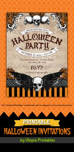 Printable Halloween party invitation with skulls, spiderwebs and a vintage look. Premium professional digital party invite templates with unique designs to fit your Halloween idea, style or theme. Perfect design for cute, creepy or spooky themed parties for kids and adults. These customized announcement cards will be personalized with your custom text. DIY file that you can download and print at home.