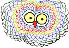Un hibou coloré en s'exerçant au graphisme décoratif libre et au coloriage. Drawing, Art School, Halloween, Fictional Characters, Ideas, Owls, Manualidades, Art, Baby Owls
